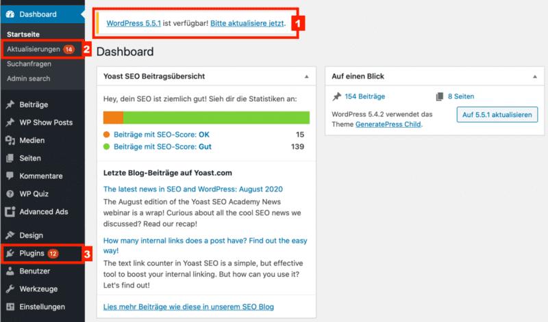 WordPress & WooCommerce Aktualisierungen
